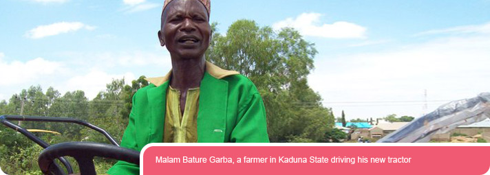 Malam Bature Garba, a farmer in Kaduna State driving his new tractor